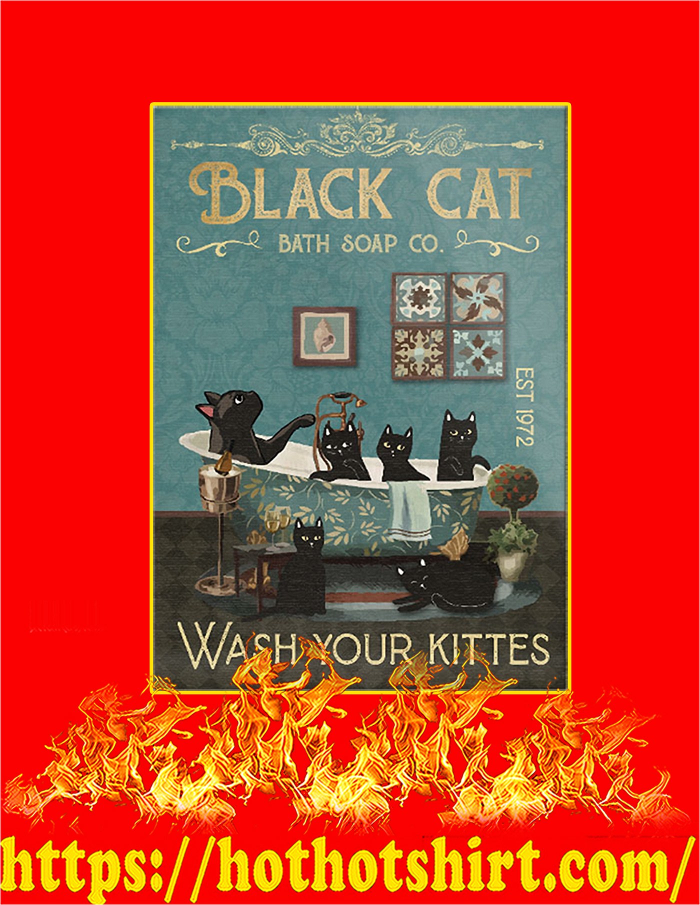 Black cat bath soap co wash your kittes poster - A2