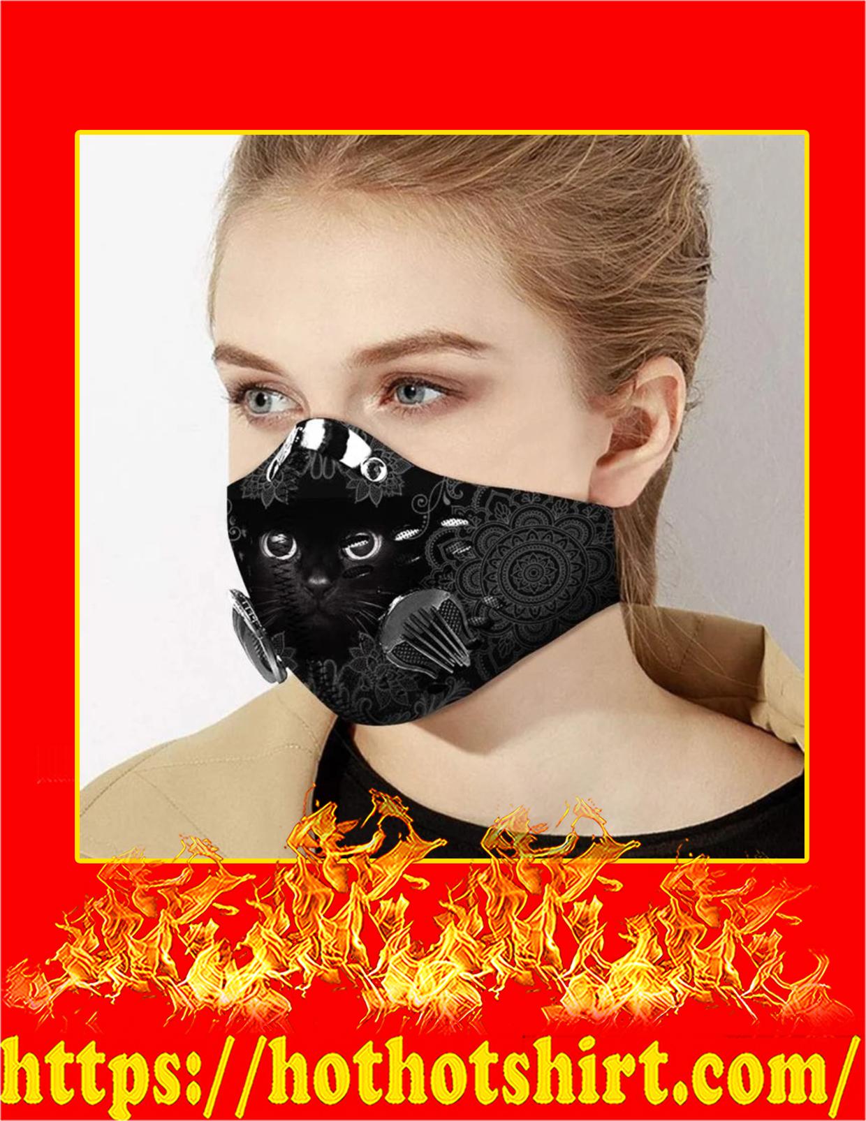Black cat filter face mask