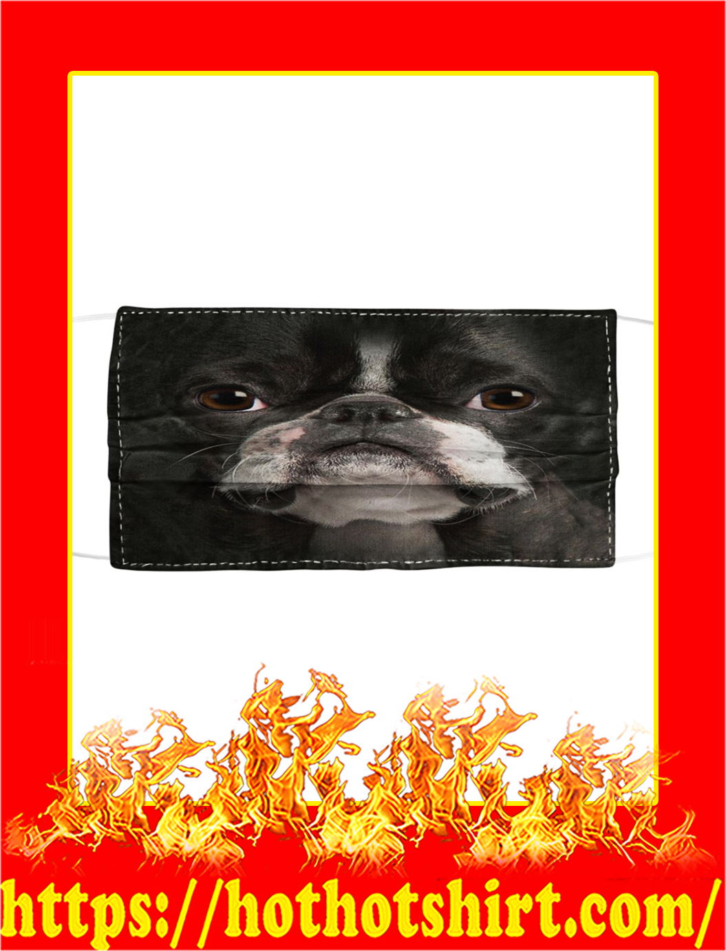 Boston Terrier Cloth Face Mask- black