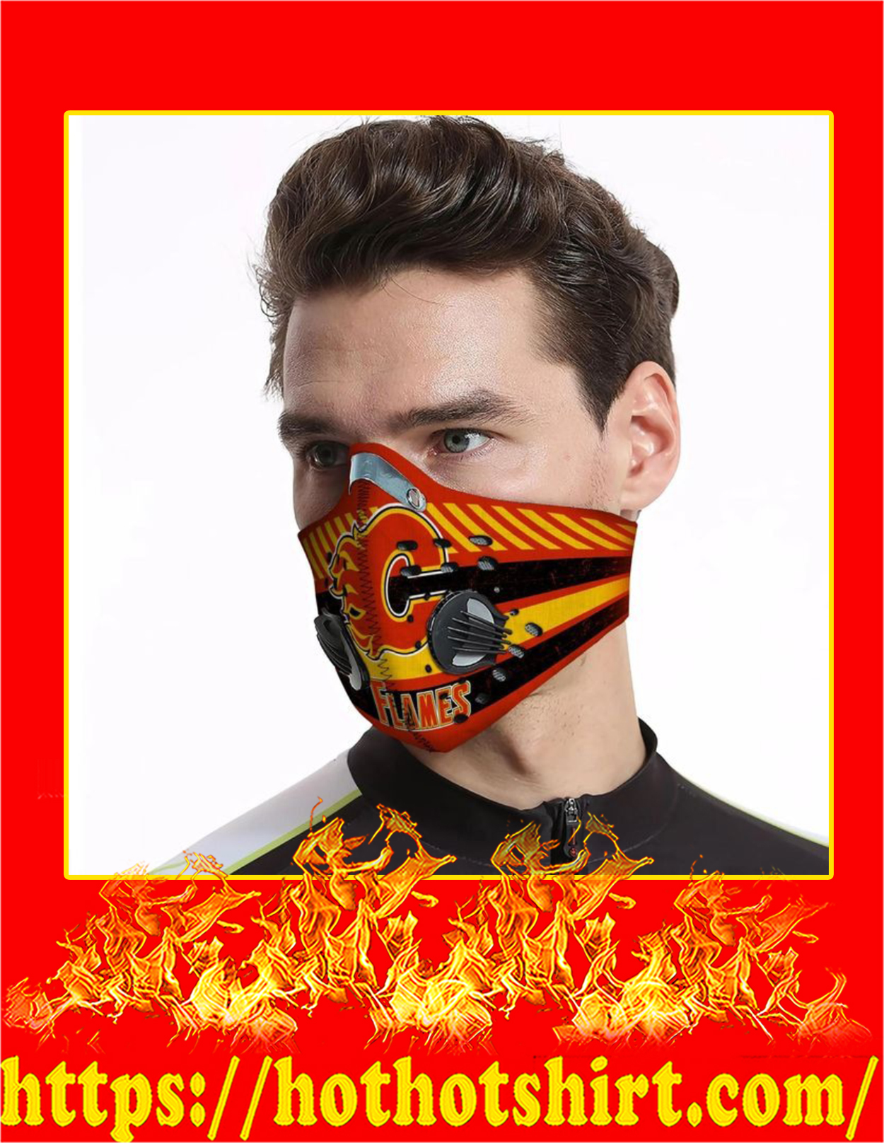 Calgary flames filter face mask - Pic 3