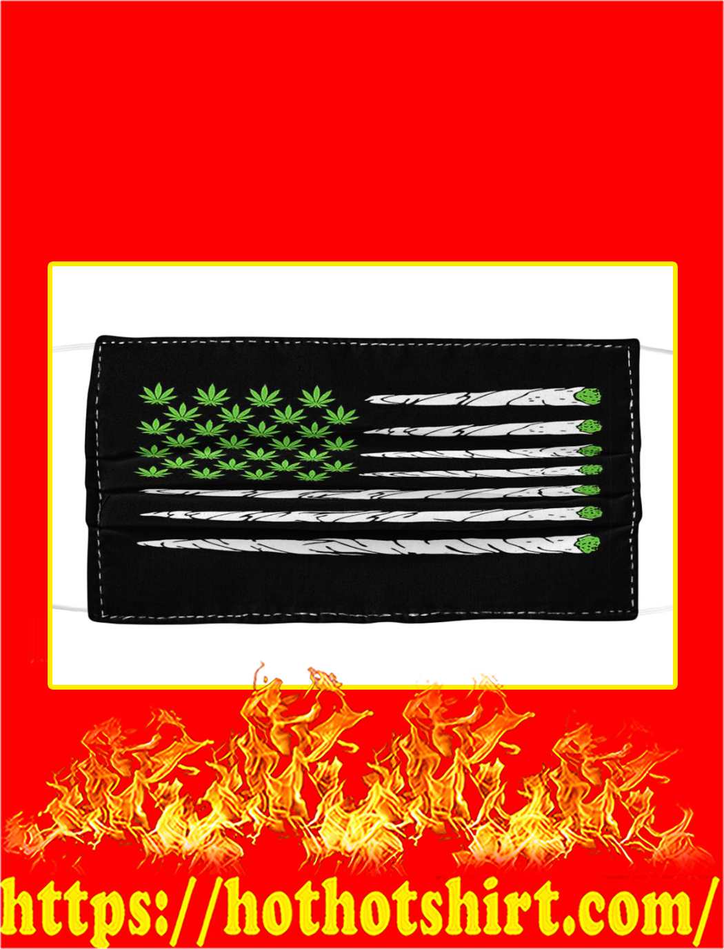 Cannabis Weed American Flag Face Mask- pic 1