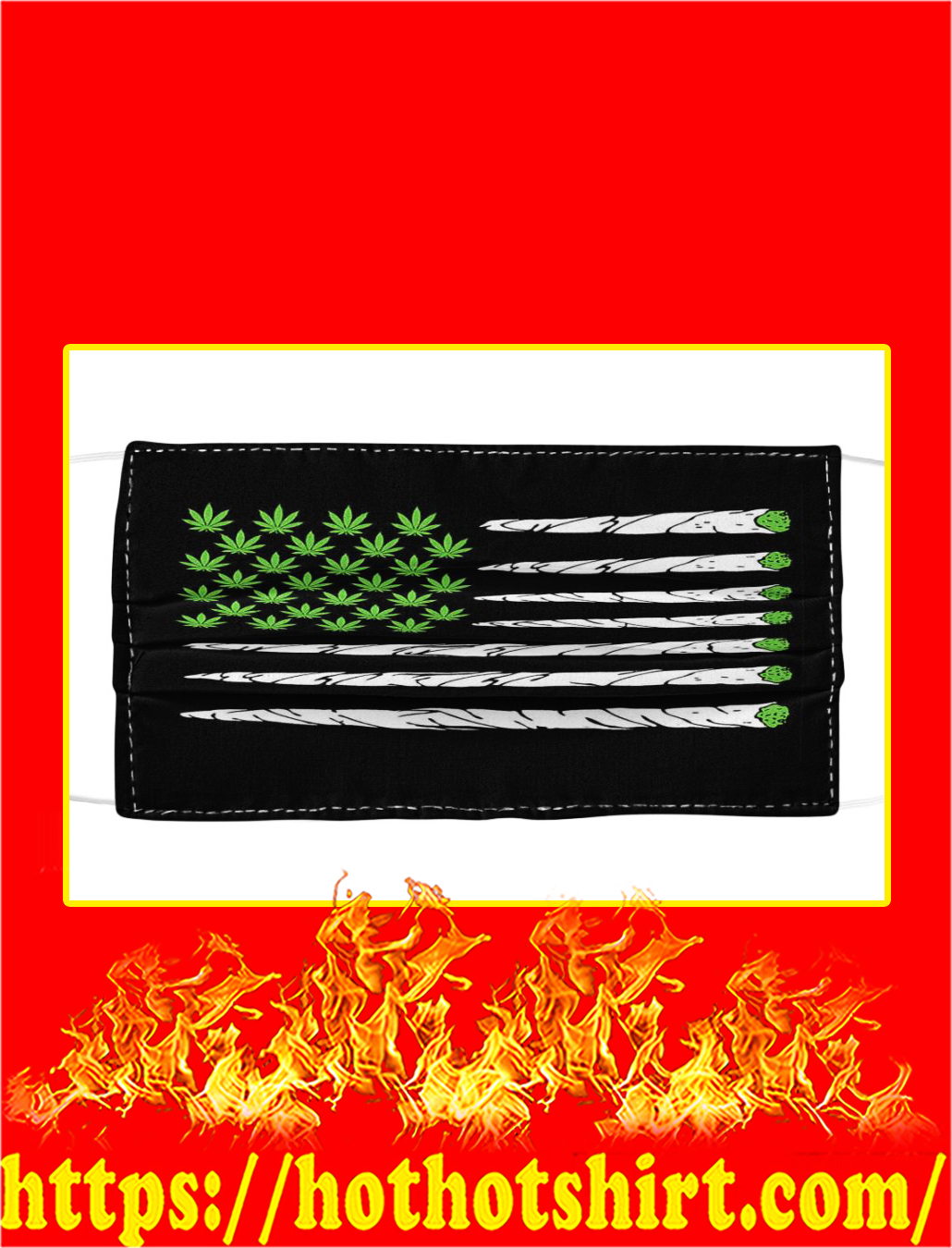 Cannabis Weed American Flag Face Mask