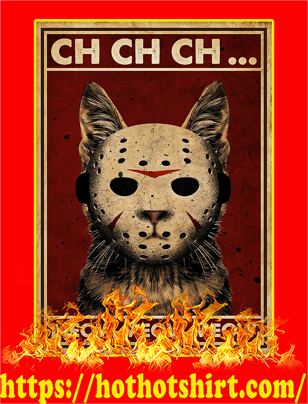 Cat Jason ch ch ch meow meow meow poster - A4
