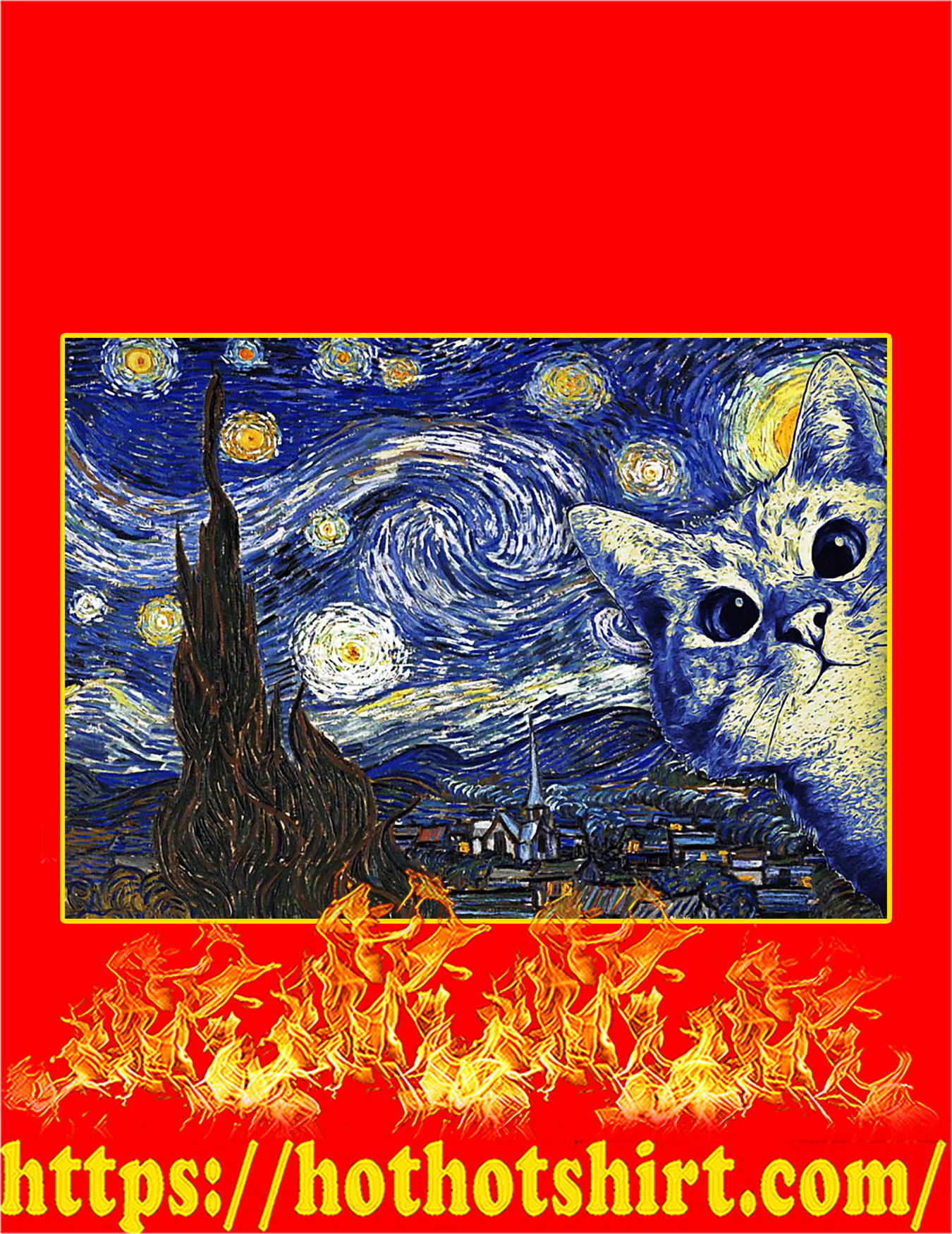 Cat The Starry Night Van Gogh Poster - A4