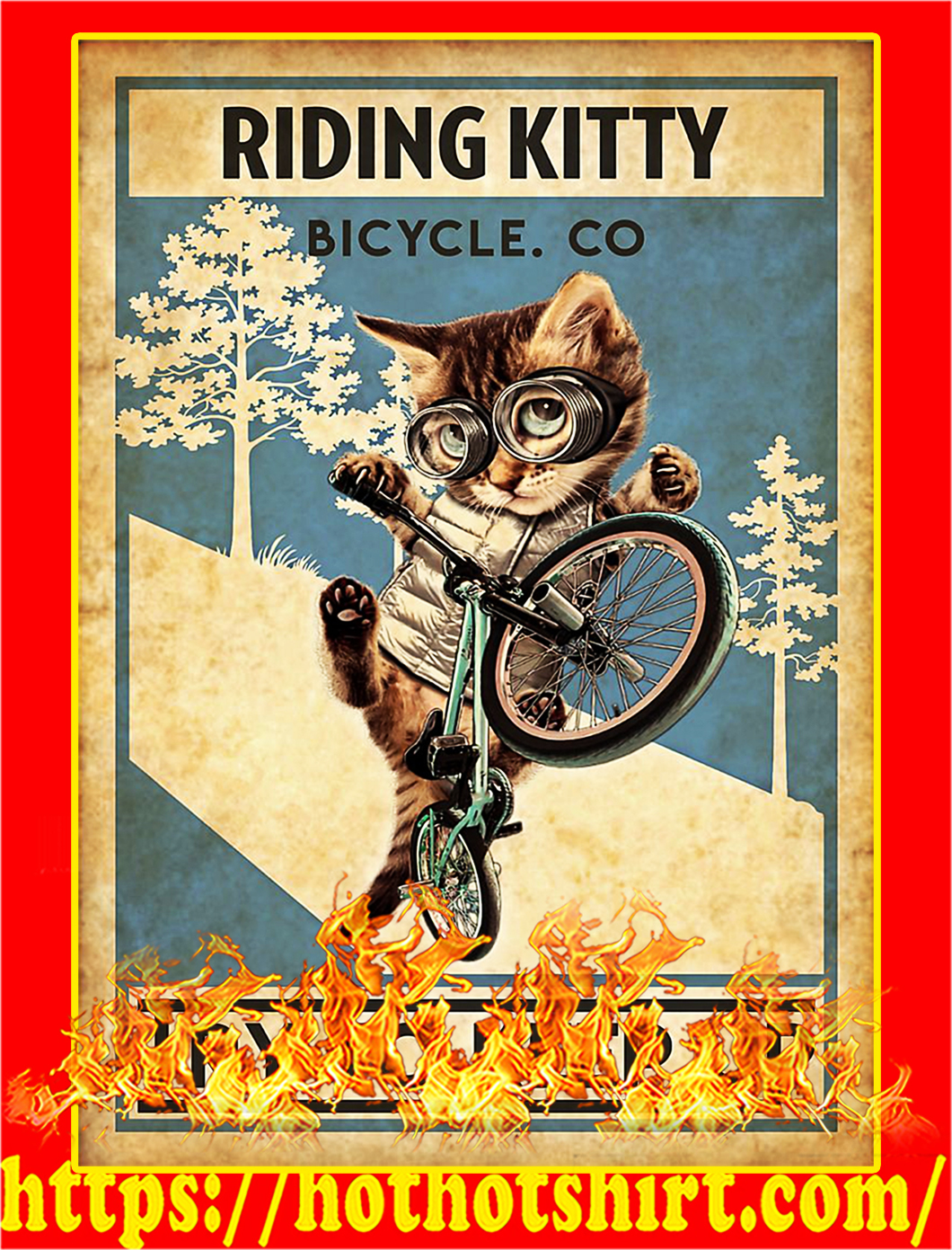 Cat riding kitty bicycle co try to keep up poster - A1