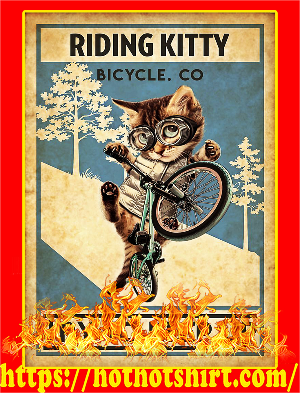 Cat riding kitty bicycle co try to keep up poster - A2