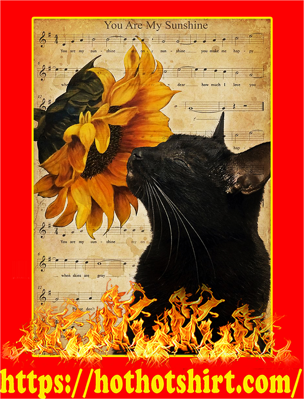 Cat you are my sunshine poster - A1