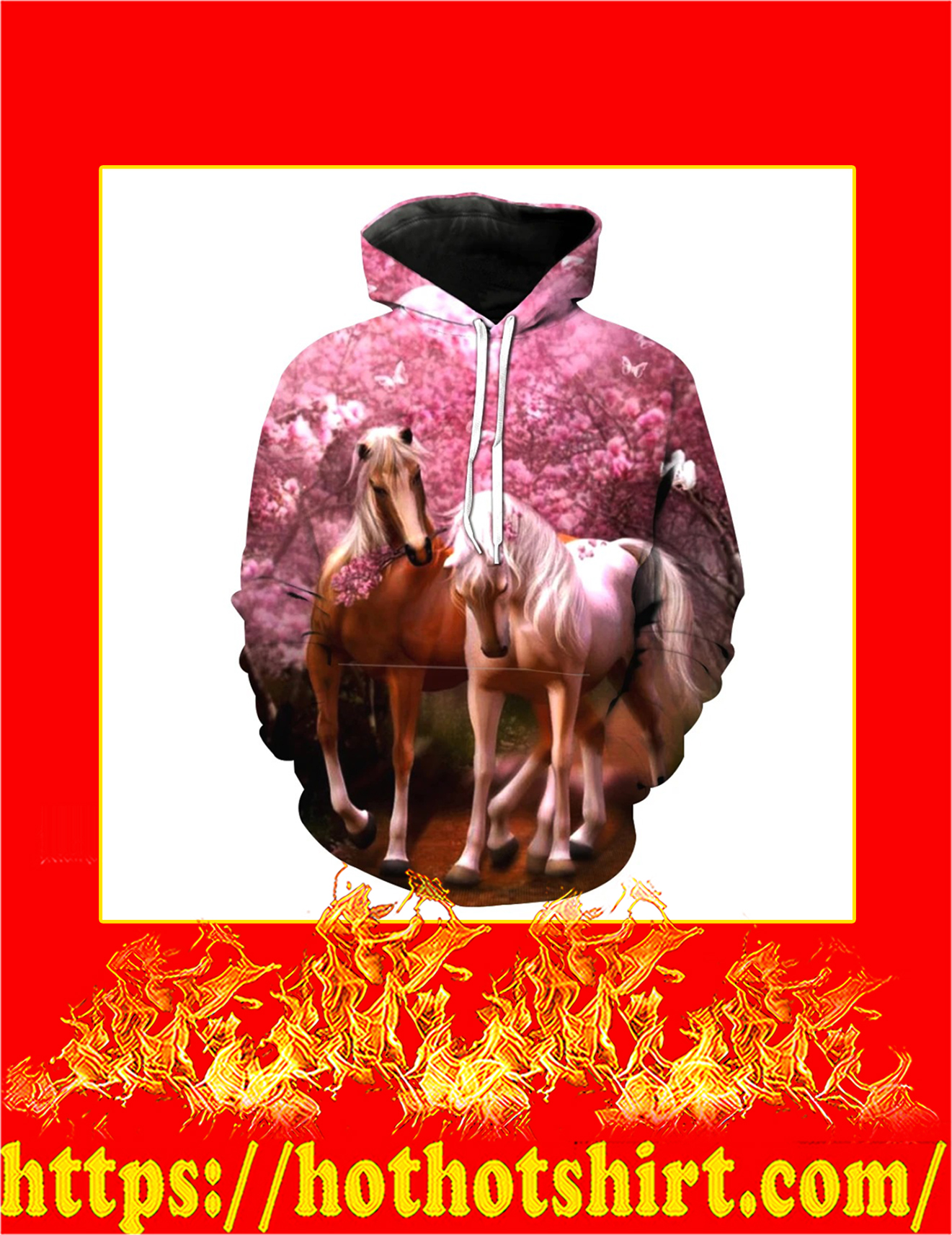 Cherry Blossoms Horse 3D Printed Hoodie - Detail