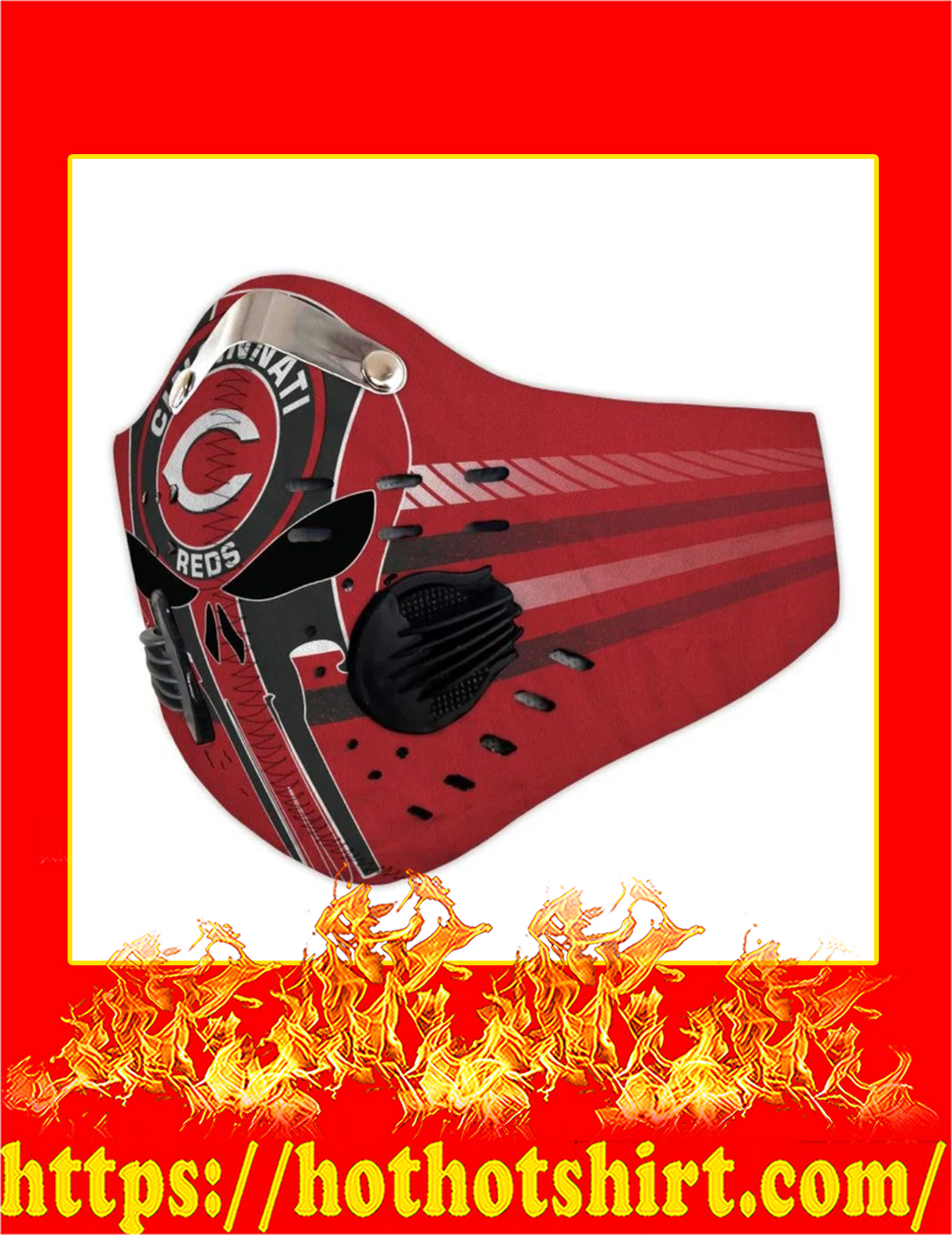 Cincinnati reds punisher skull filter face mask