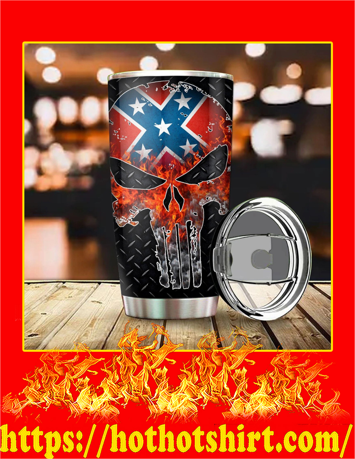 Confederate flag punisher skull tumbler - 30oz