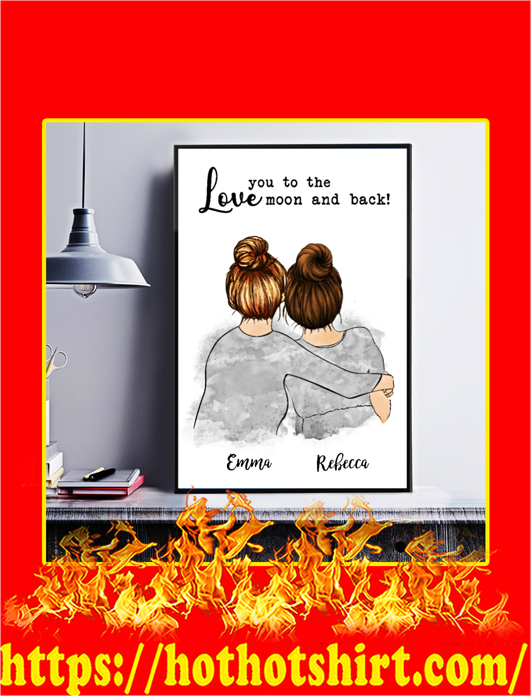 Custom name Love you to the moon and back mother's day personalized canvas