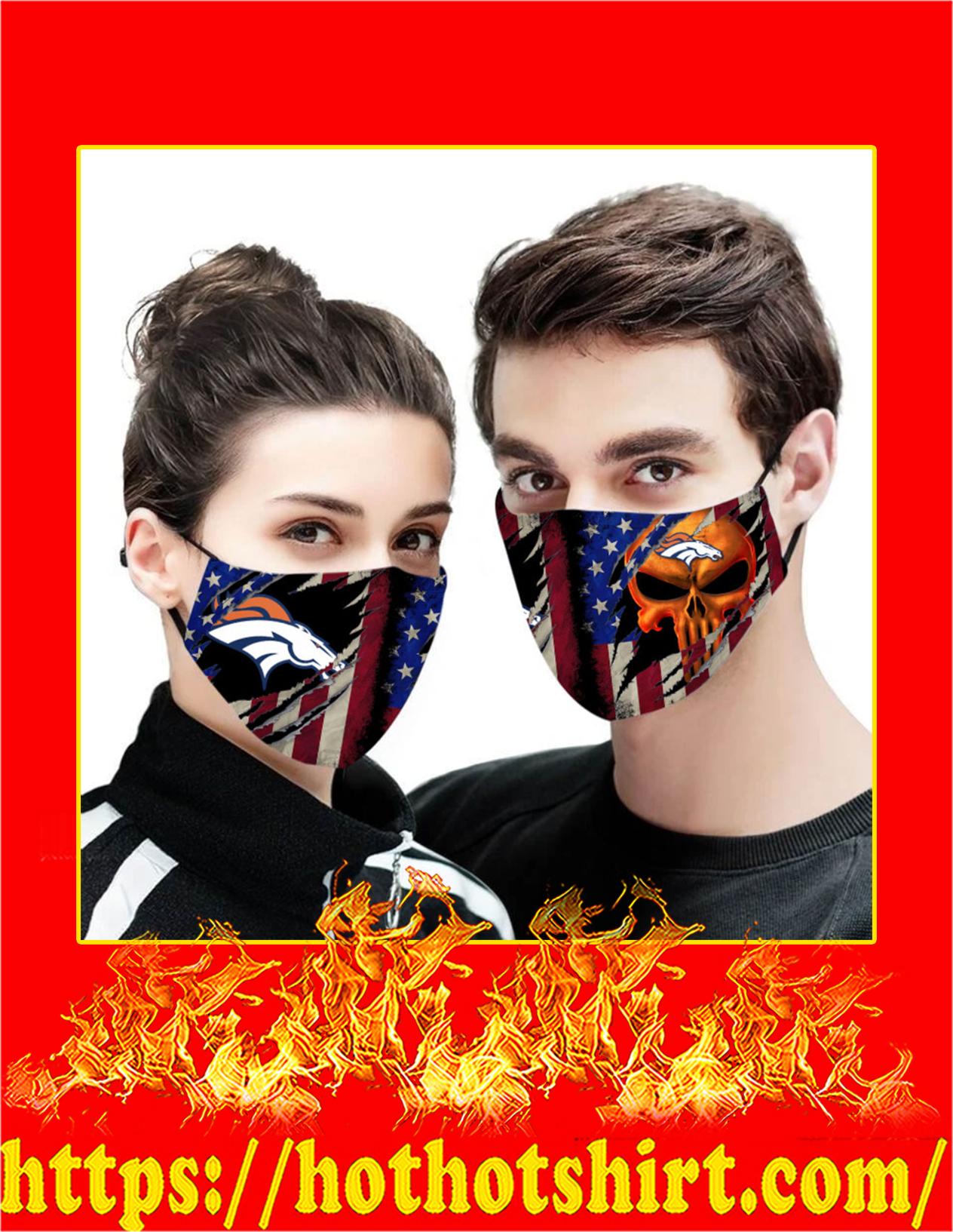 Denver broncos punisher skull american flag face mask - detail