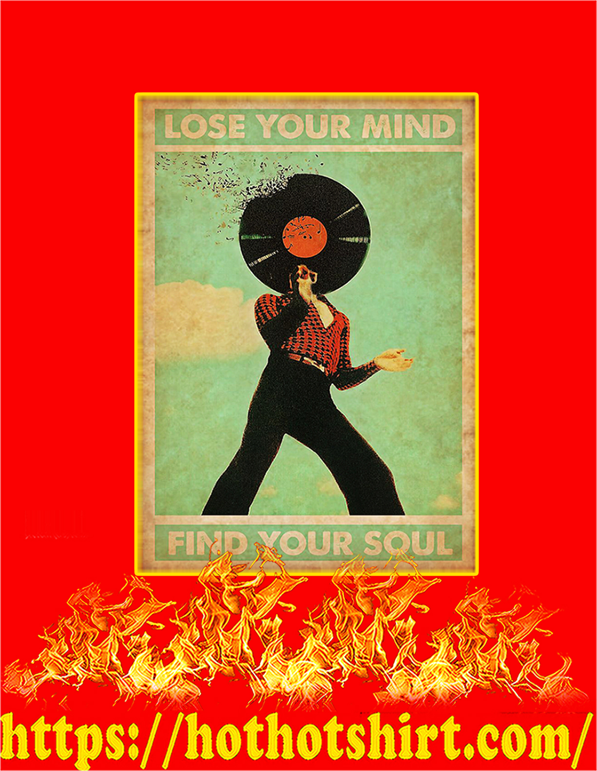 Disco Lose your mind find you soul poster - A2