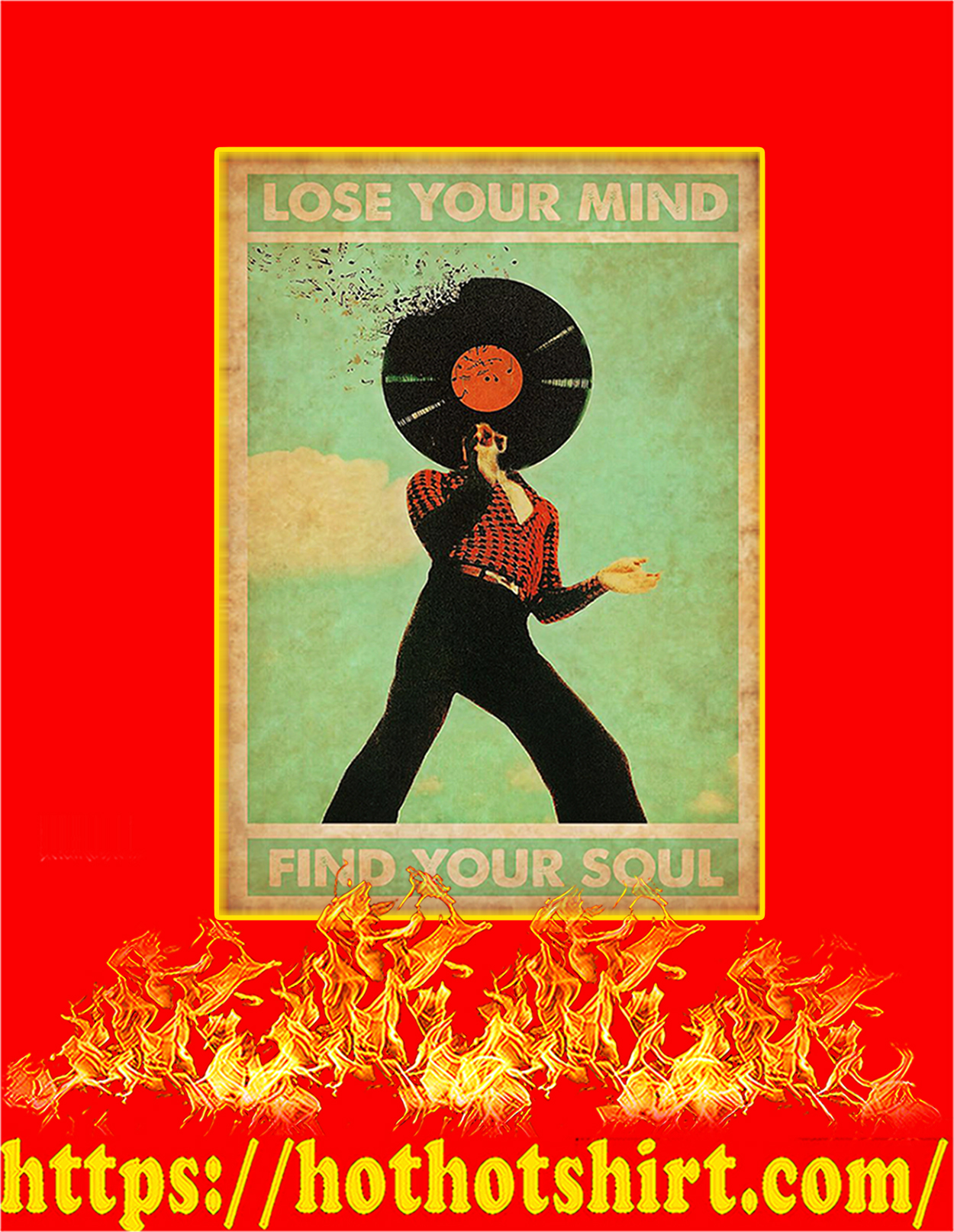 Disco Lose your mind find you soul poster - A3