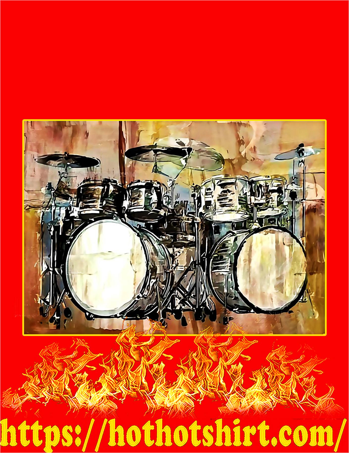 Drummer Vintage Drum Set Poster - A4