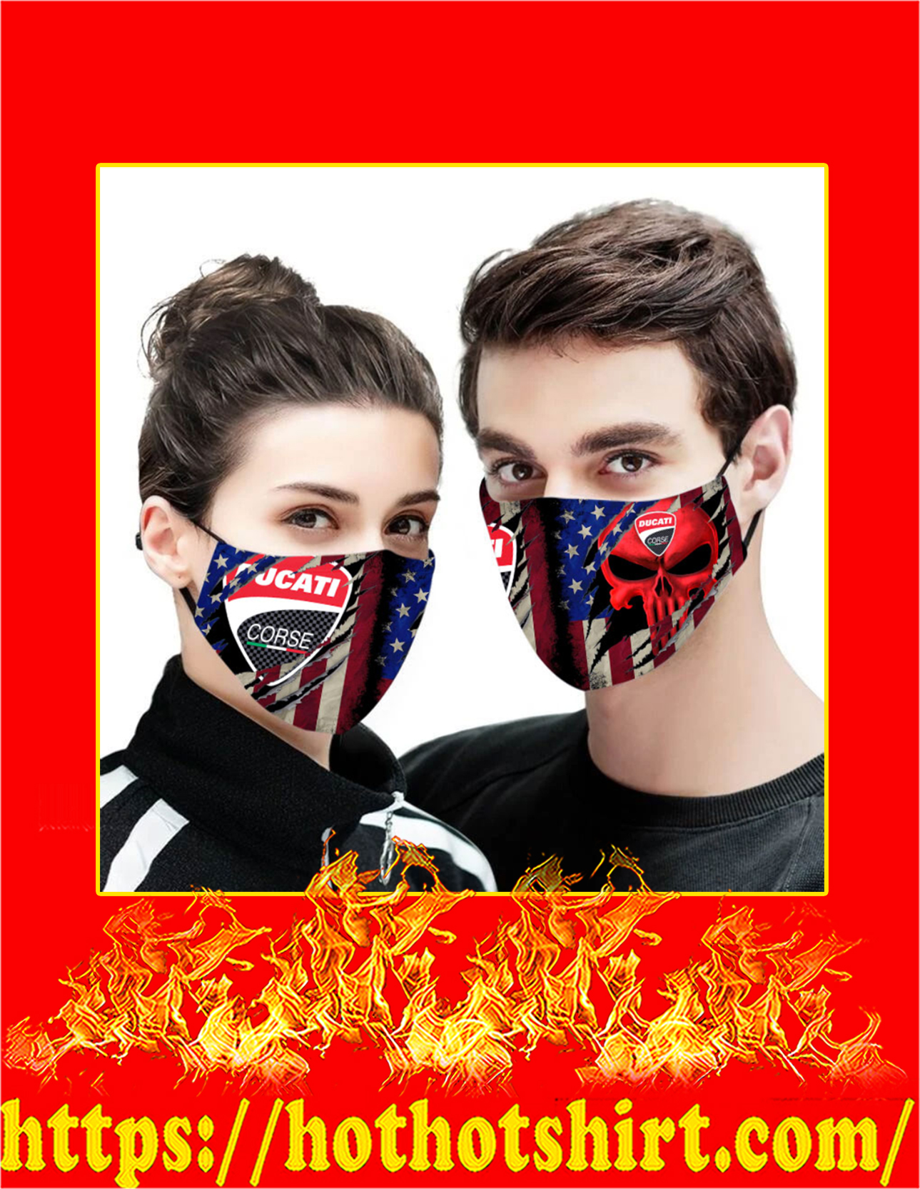 Ducati punisher skull american flag face mask - detail