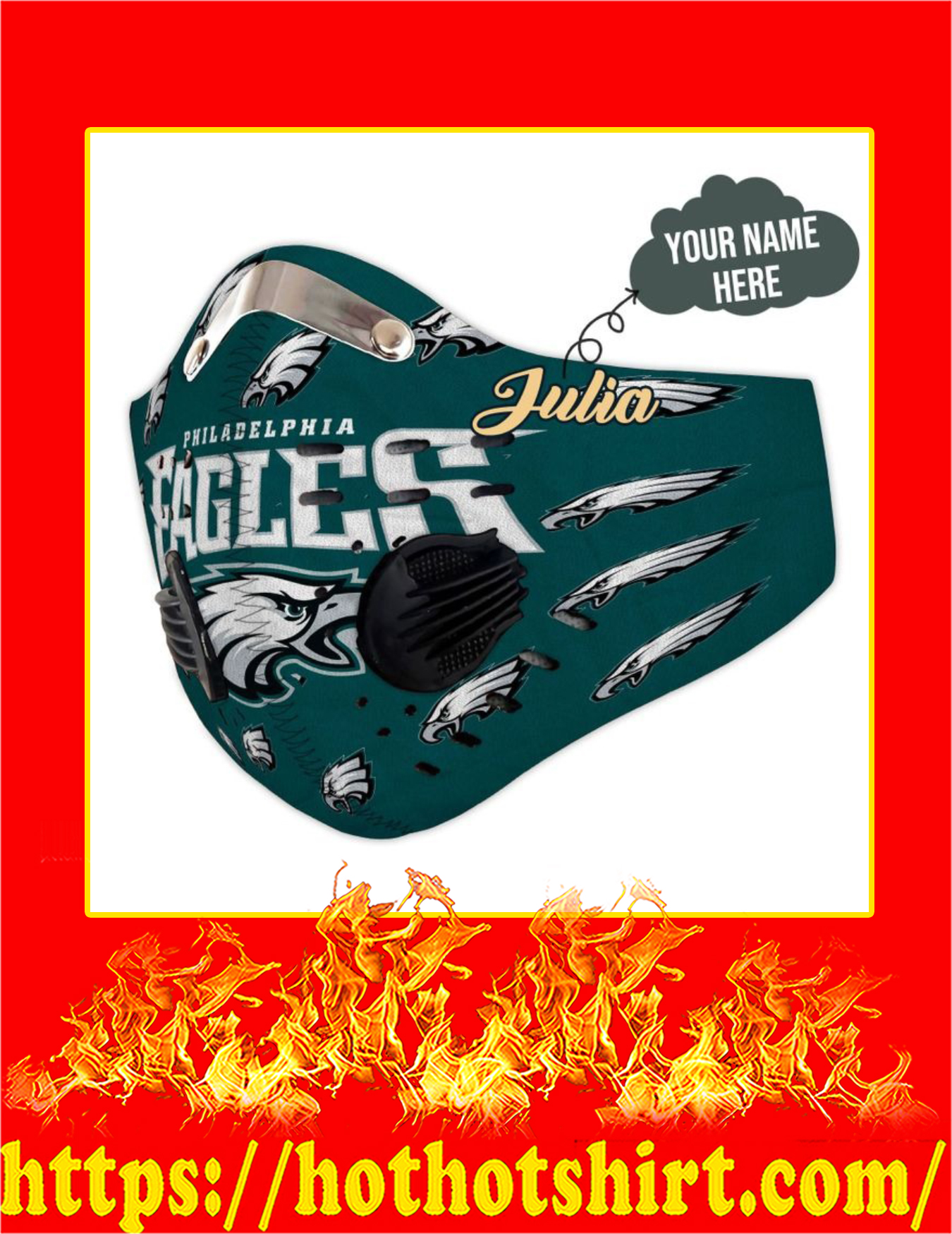 Eagles personalize custom name filter face mask - detail