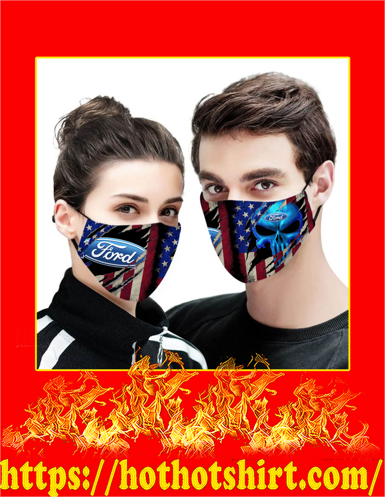 Ford punisher skull american flag face mask - detail