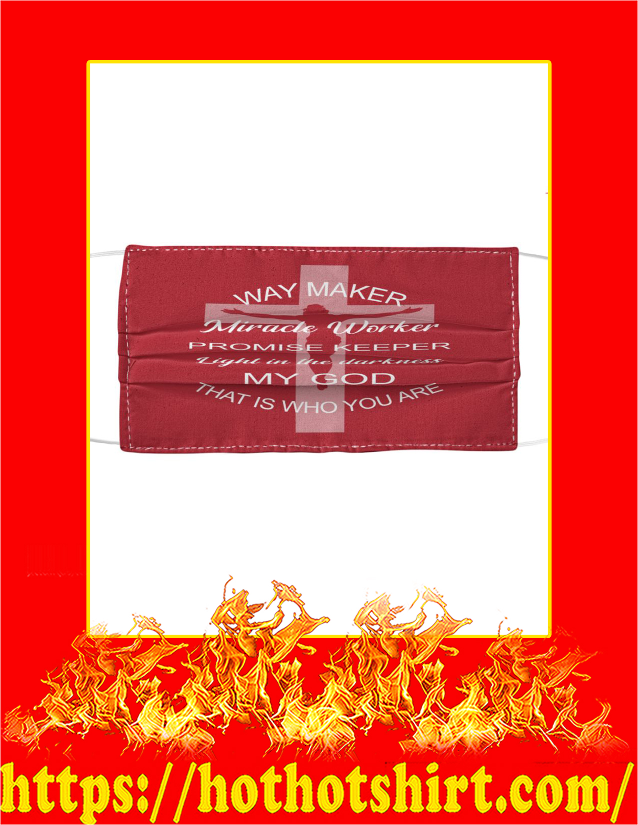 God way maker miracle worker face mask - red
