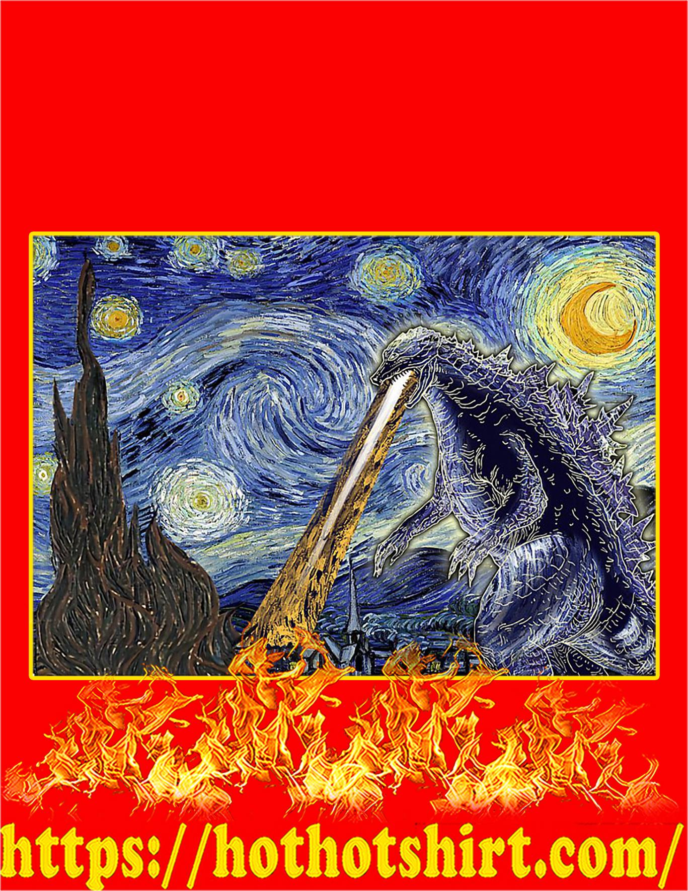 Godzilla starry night Van gogh poster - A3