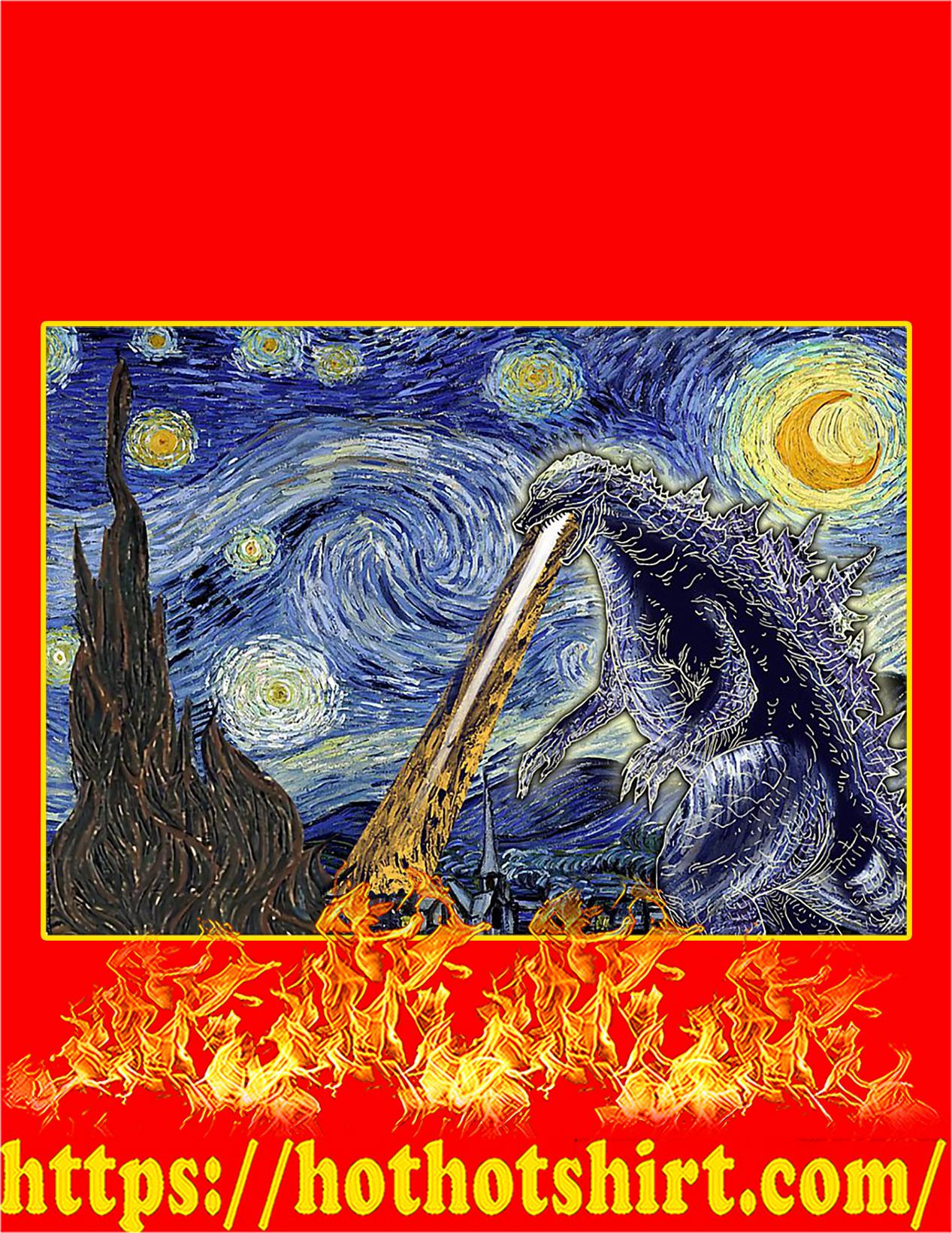 Godzilla starry night Van gogh poster - A4