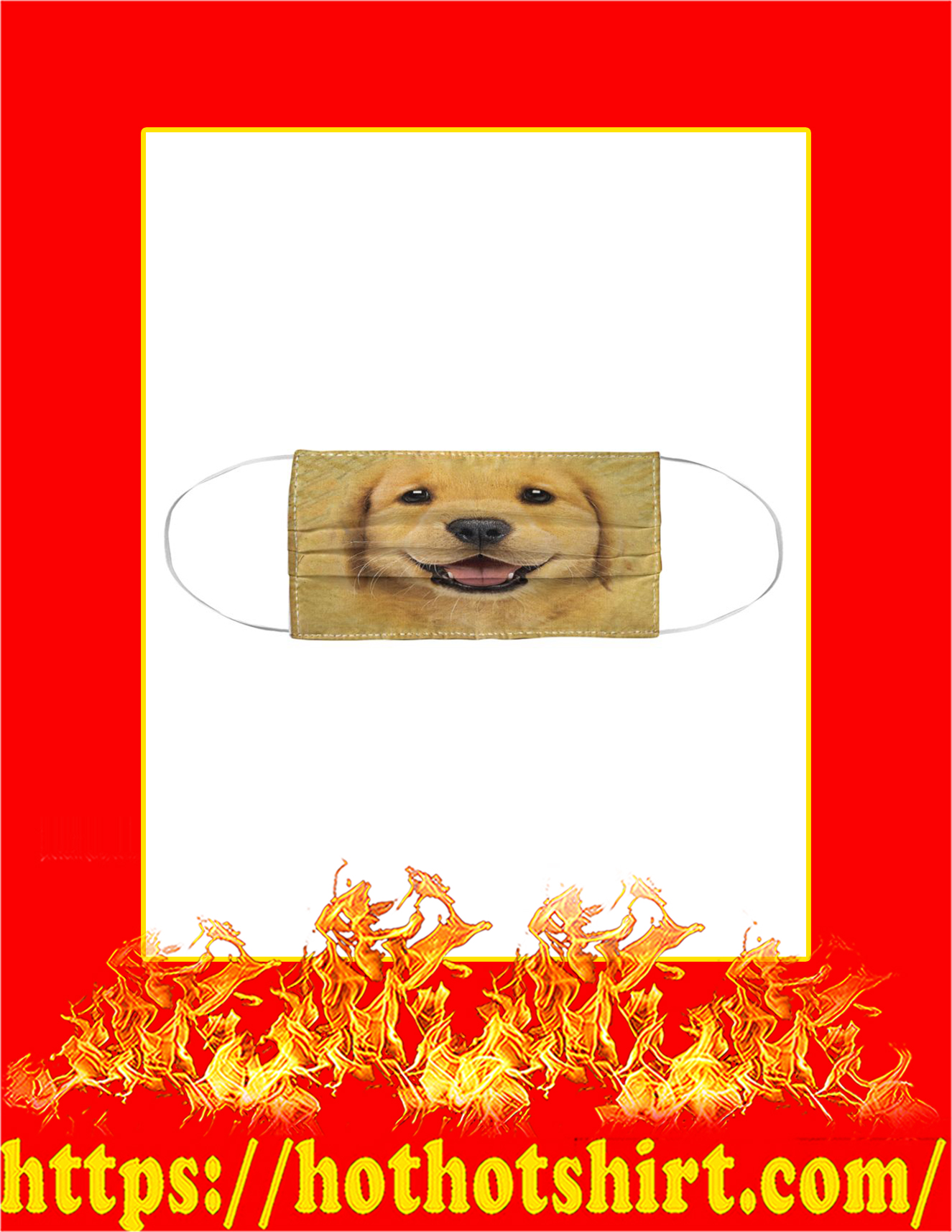 Golden Retriever Puppy Cloth Face Mask - Pic 1