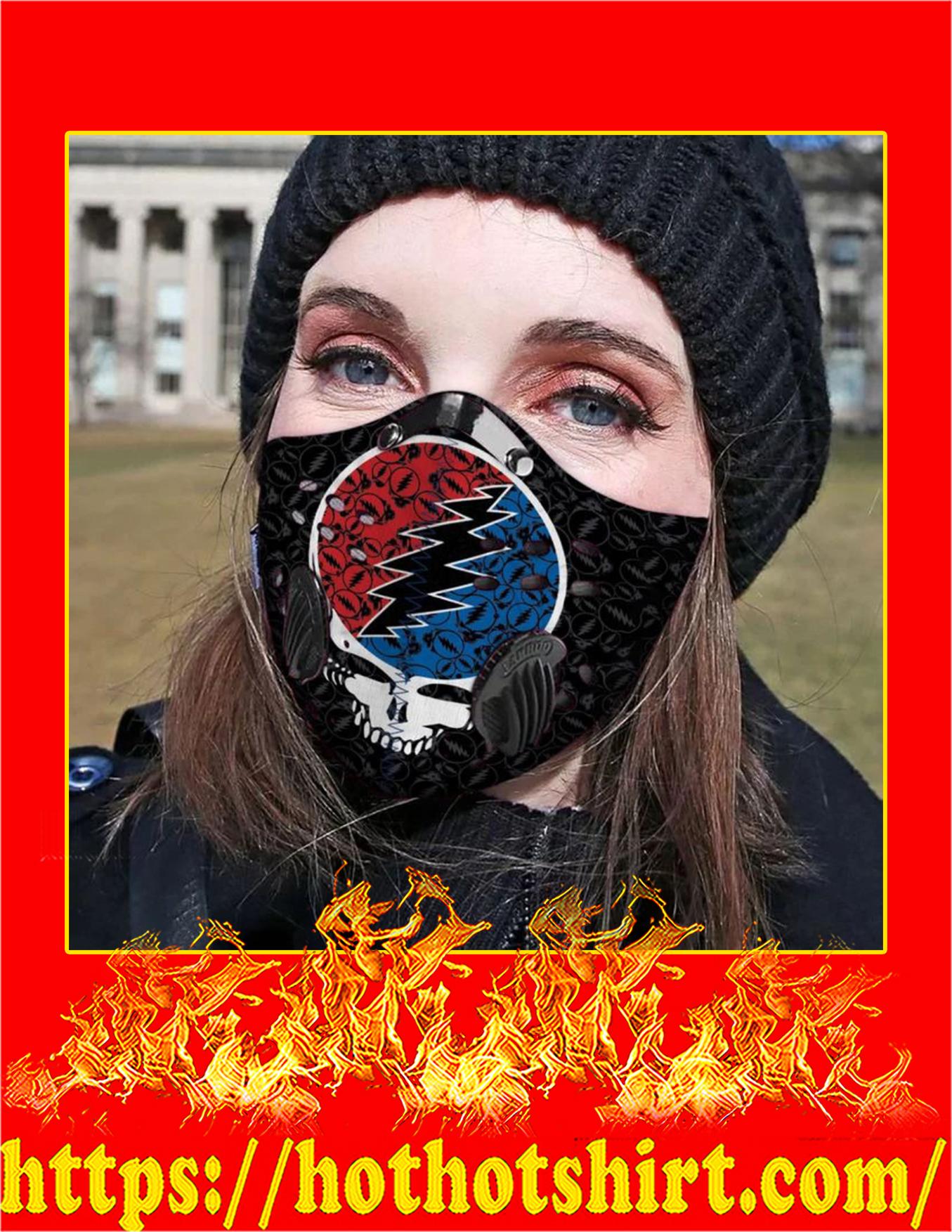 Grateful dead logo filter face mask - detail