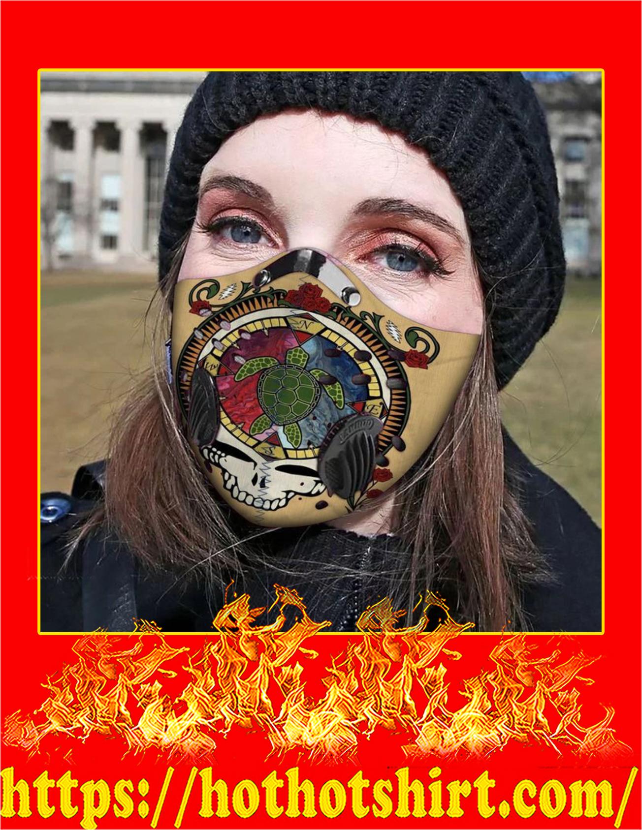 Grateful dead turtle filter face mask - detail