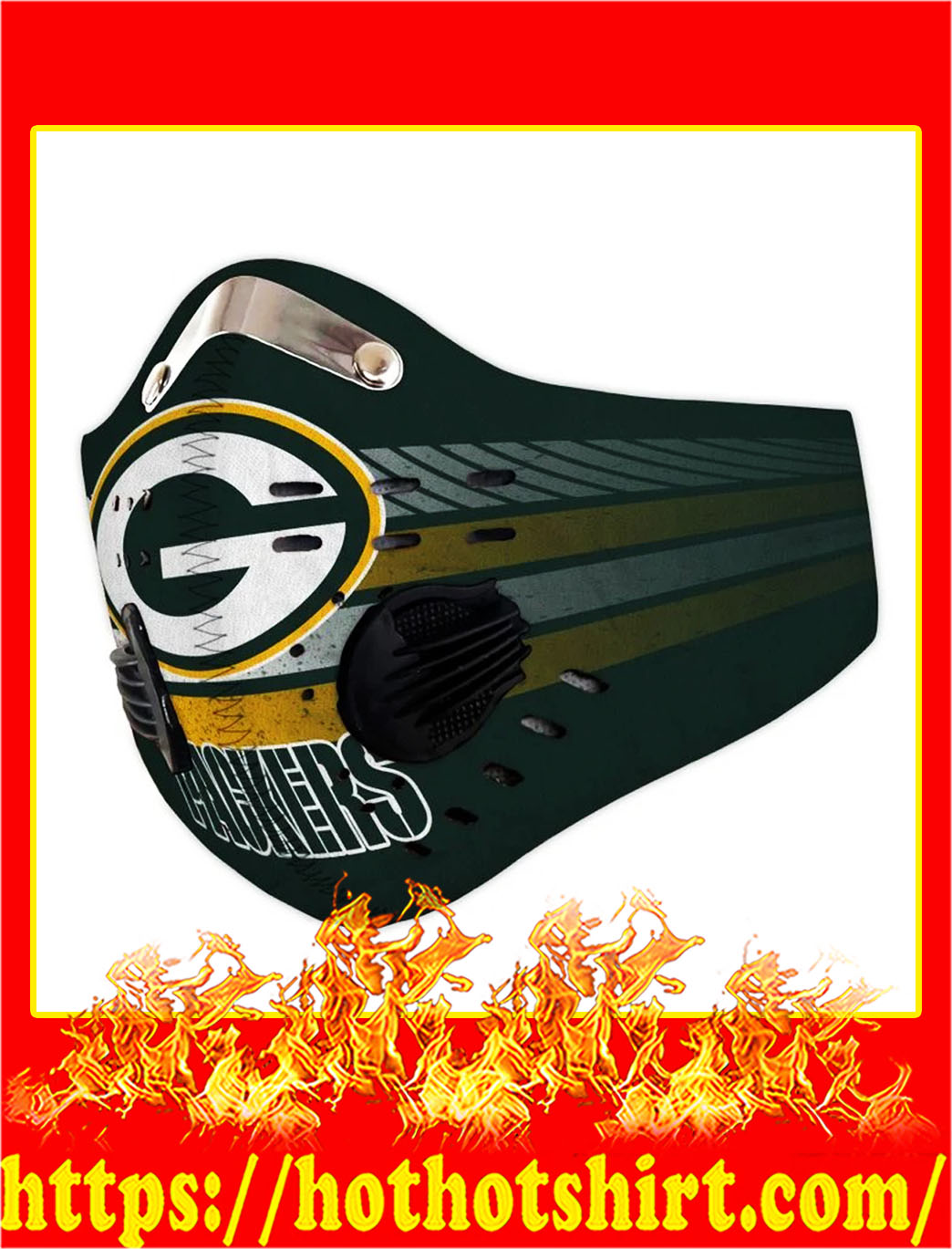 Green Bay Packers Filter Activated Carbon Pm 2.5 Fm Face Mask