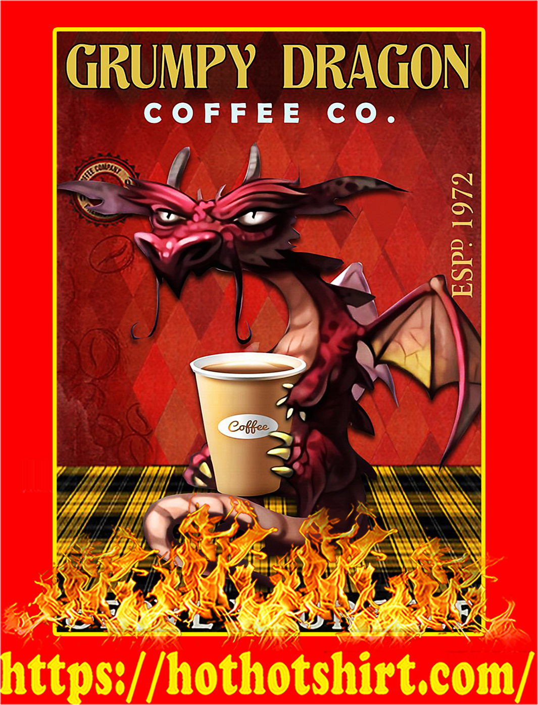 Grumpy Dragon Coffee Co Poster - A3