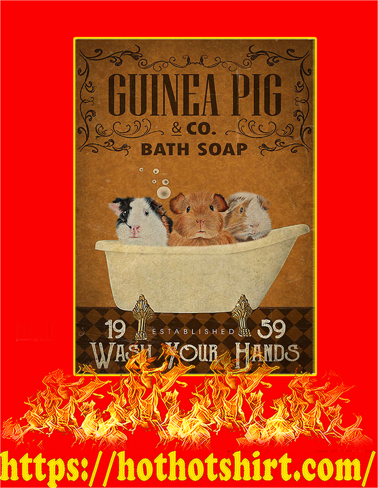 Guinea pig bath soap poster - A3