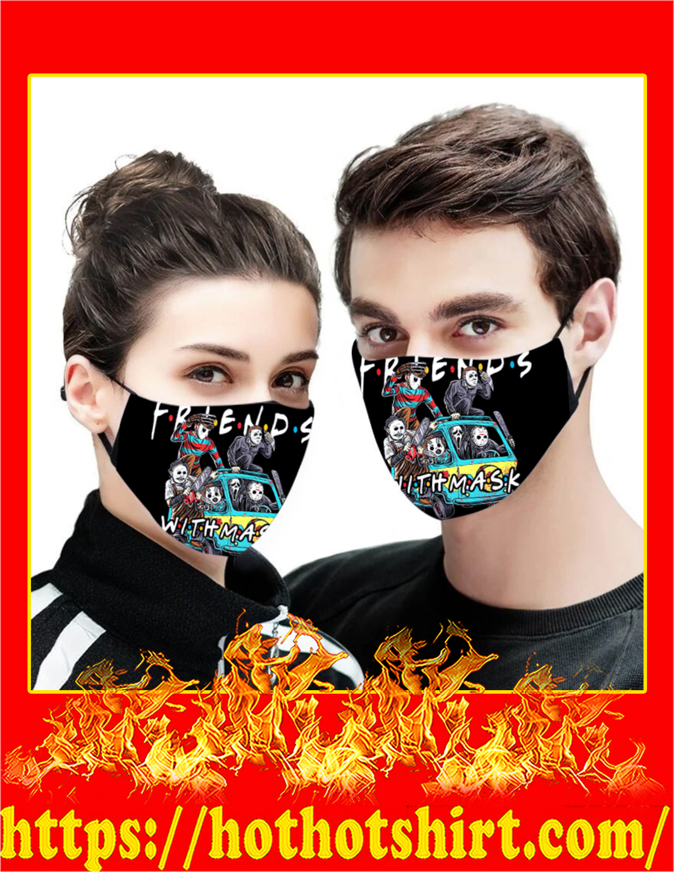 Horror killers friends with mask 3d face mask - detail
