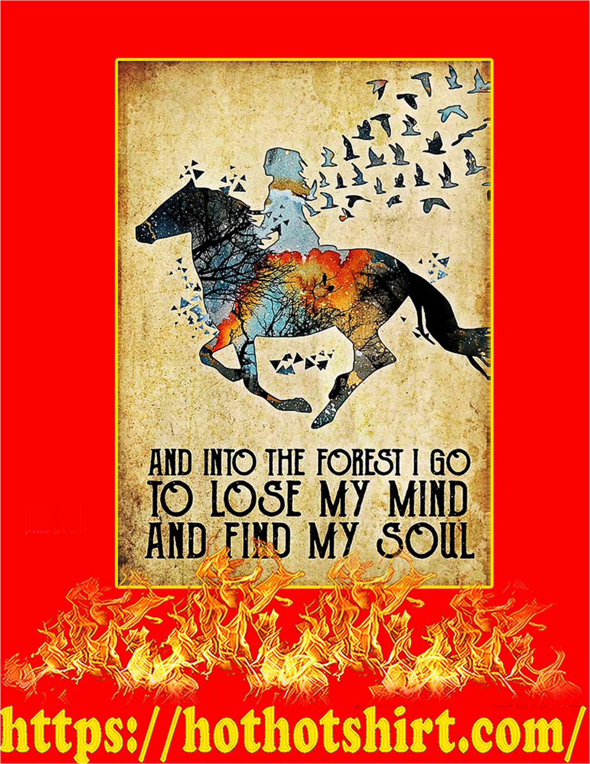Horse and into the forest poster - A3
