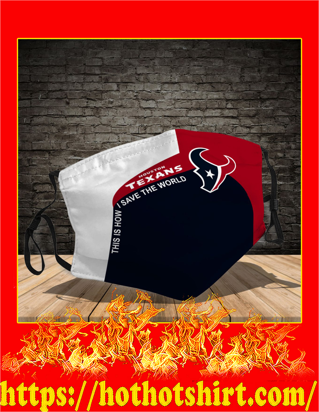 Houston Texans 3d face mask - detail