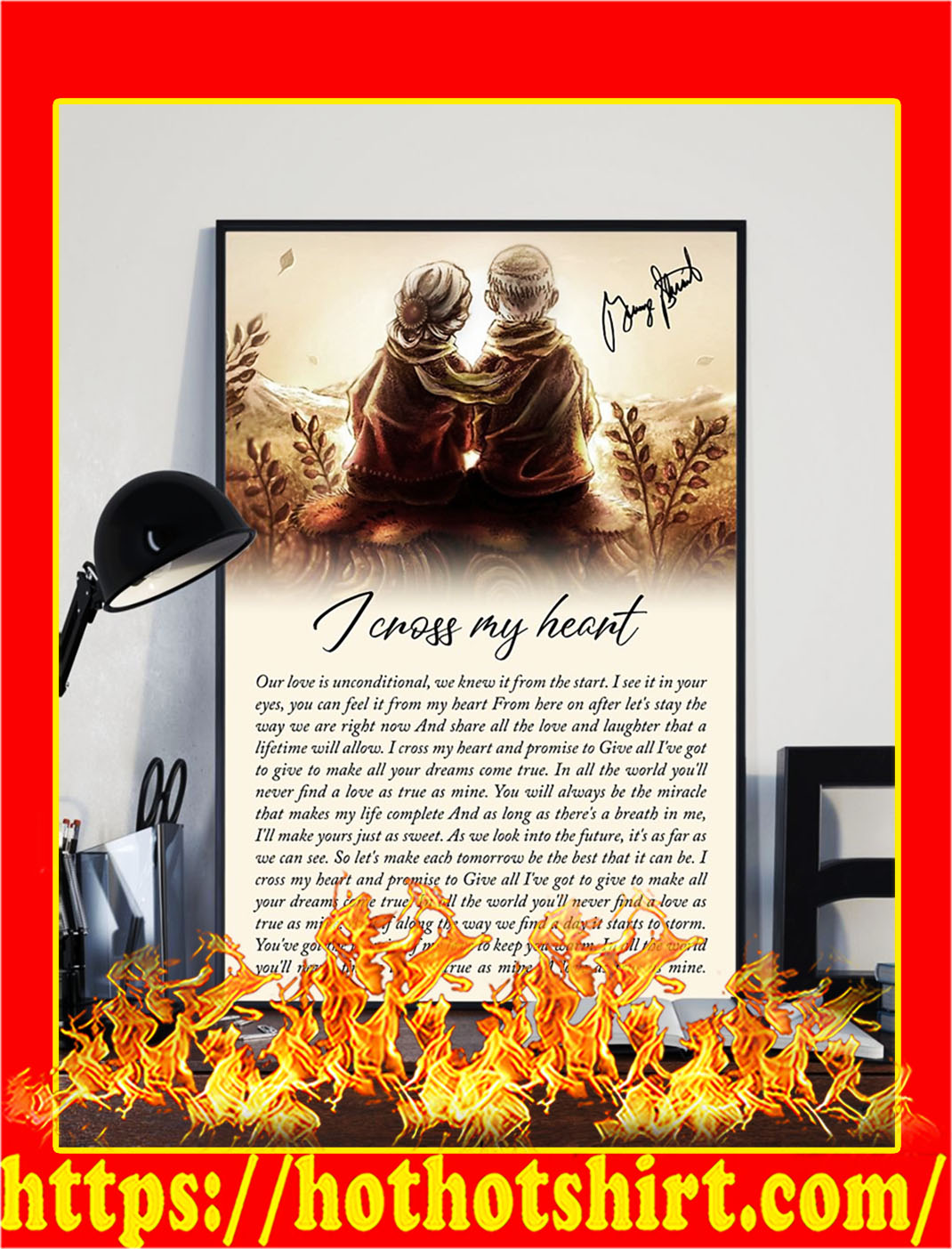 I cross my heart old couple signature poster- A1