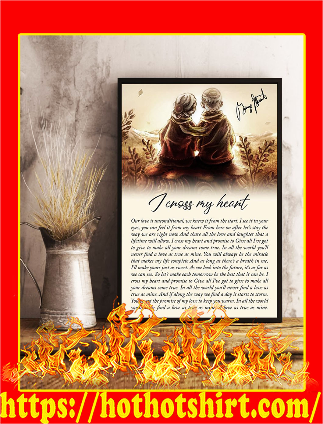 I cross my heart old couple signature poster- A2
