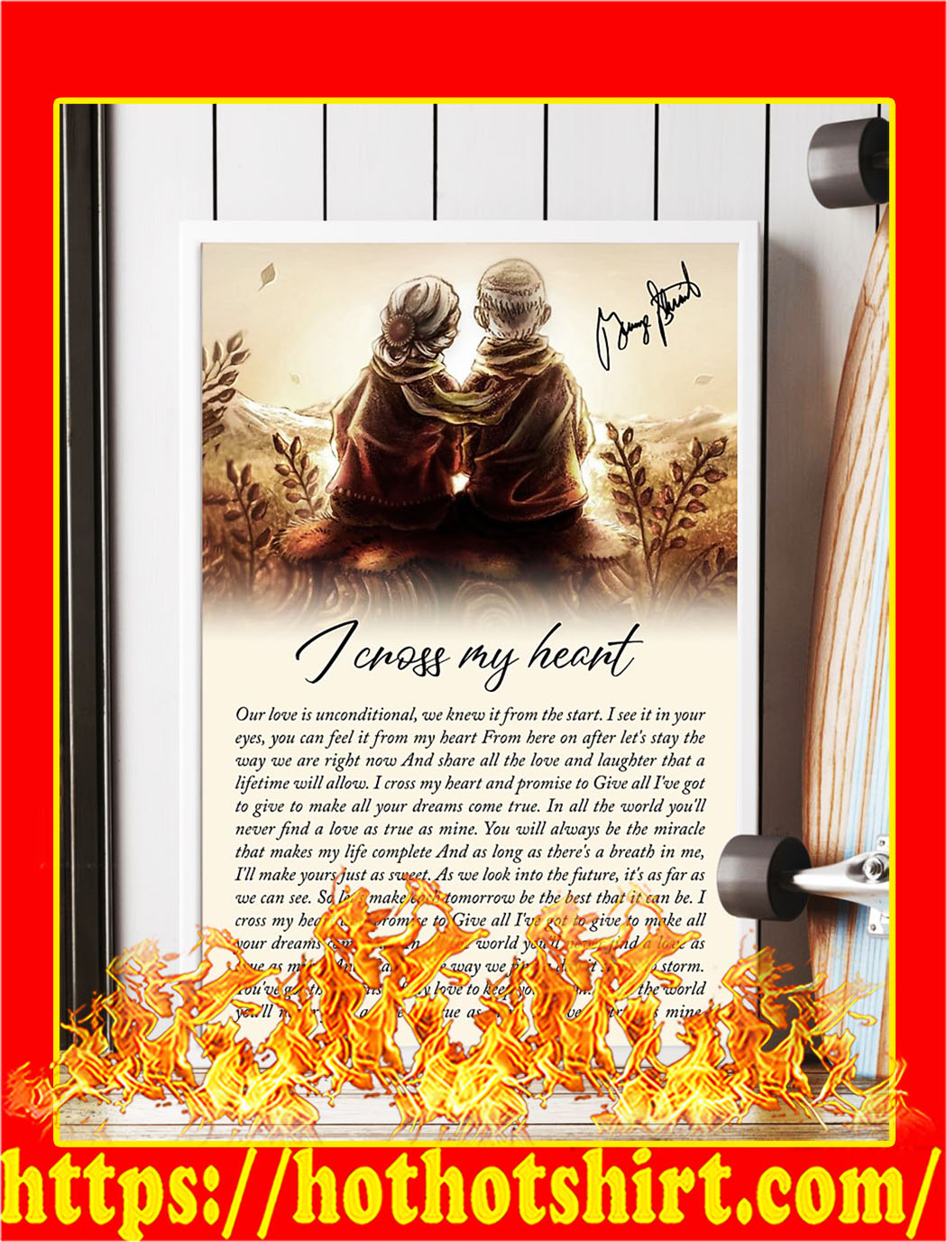 I cross my heart old couple signature poster- A4