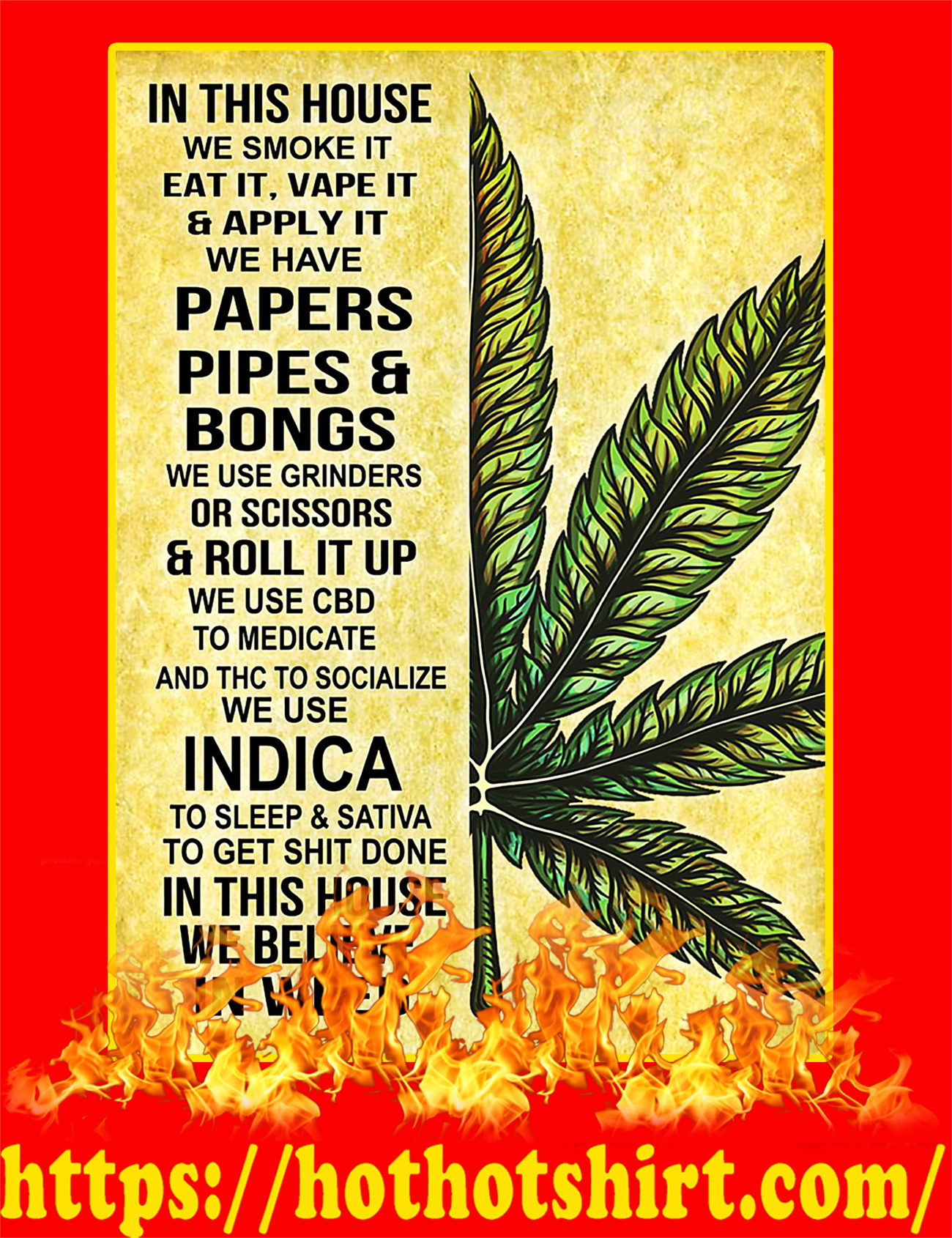 In this house we smoke it eat it poster-a2