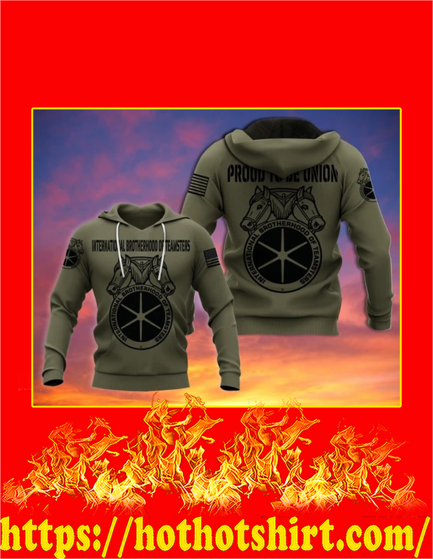 International Brotherhood of Teamsters 3d hoodie - Detail
