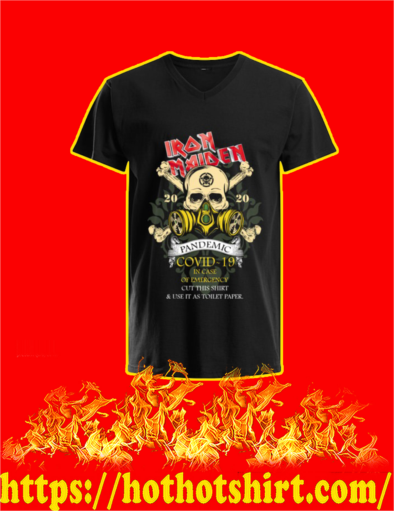 Iron Maiden Romance pandemic covid 19 in case v-neck