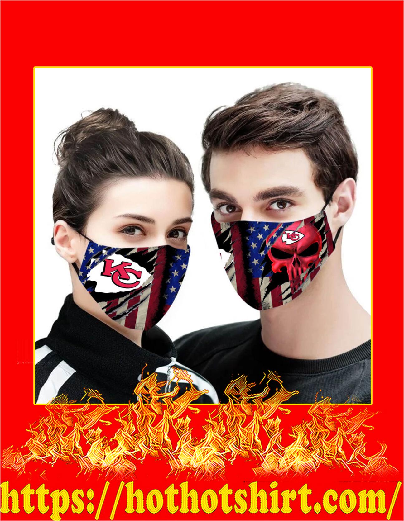 Kansas city chiefs punisher skull american flag face mask