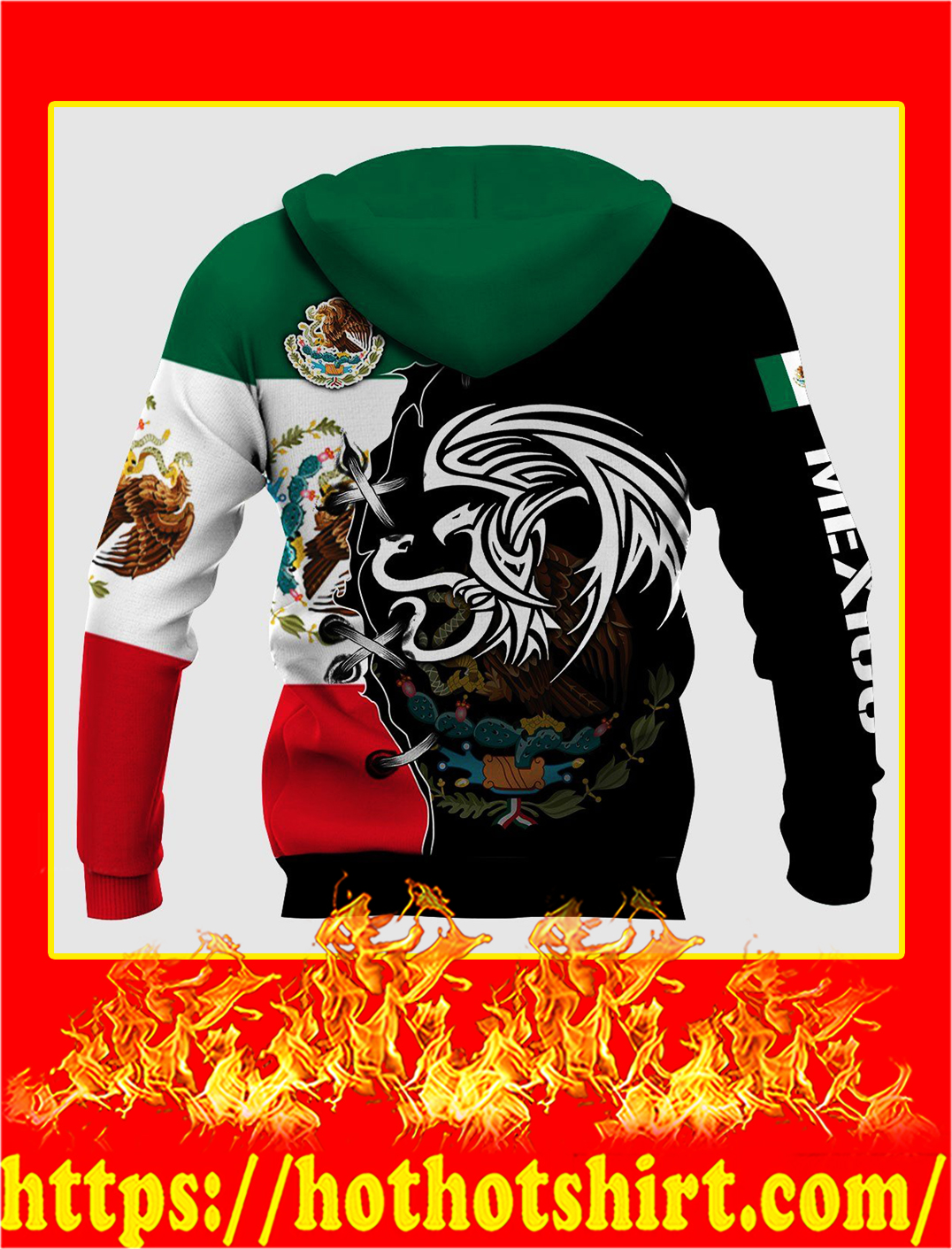 Mexico Golden Eagle Personalize Custom Name 3d hoodie- back