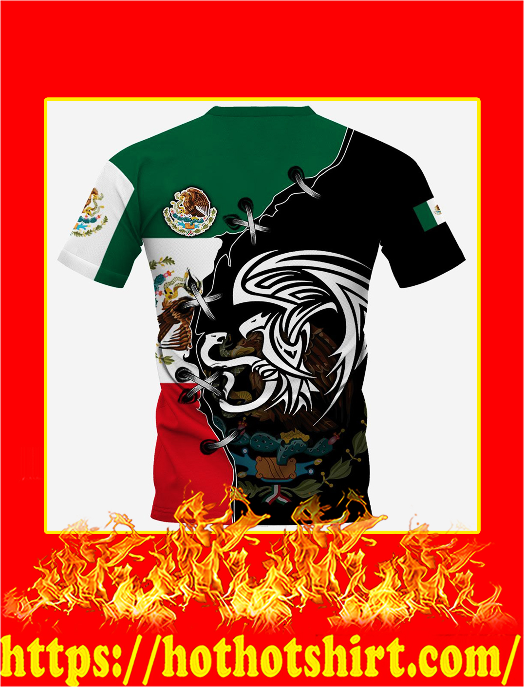 Mexico Golden Eagle Personalize Custom Name 3d shirt- back