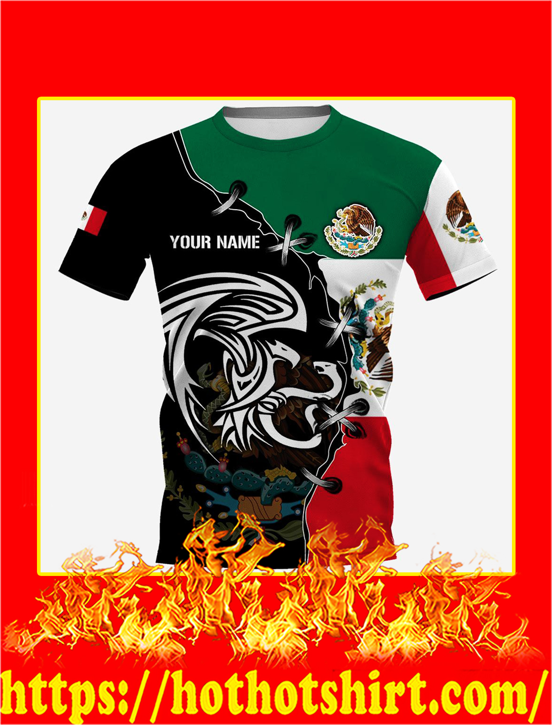 Mexico Golden Eagle Personalize Custom Name 3d shirt