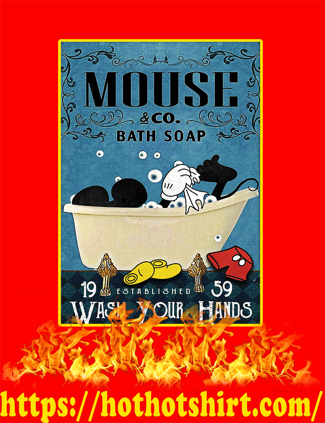 Mickey Mouse co bath soap wash your hands poster a4