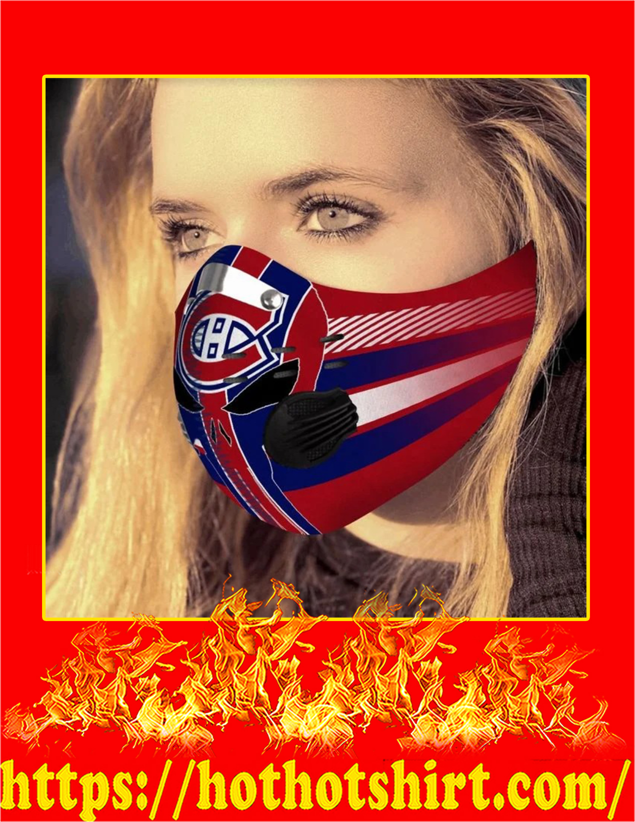 Montreal canadiens punisher skull filter face mask - Pic 1