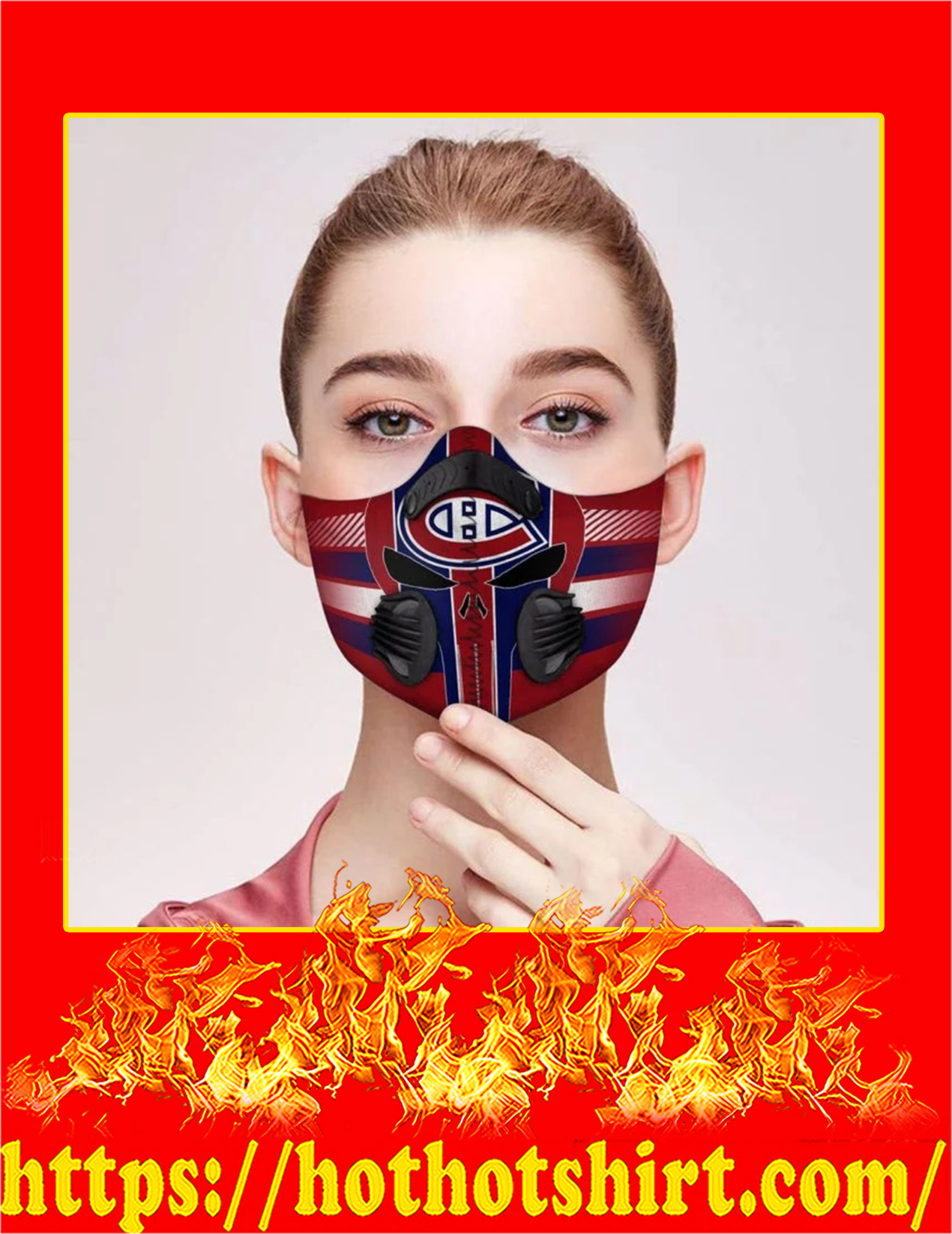 Montreal canadiens punisher skull filter face mask - Pic 2