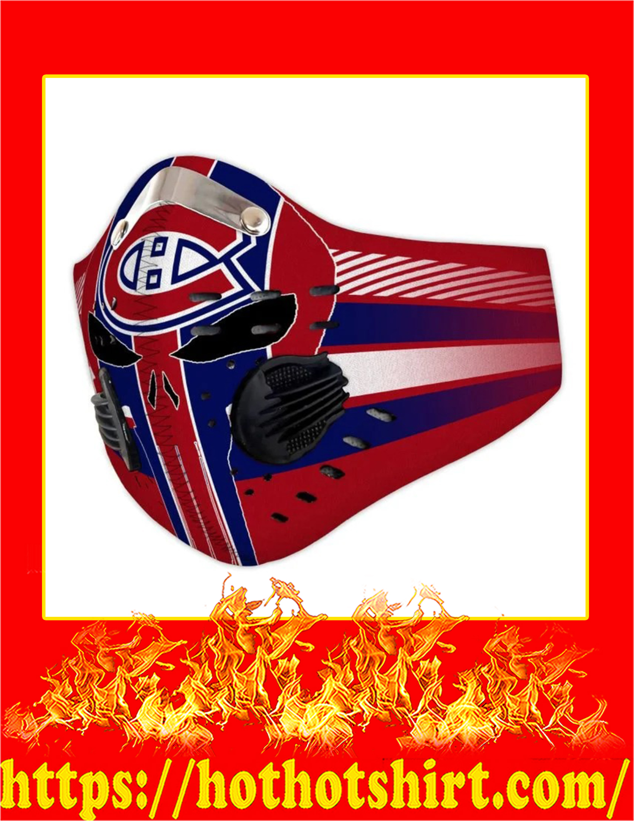 Montreal canadiens punisher skull filter face mask - Pic 3