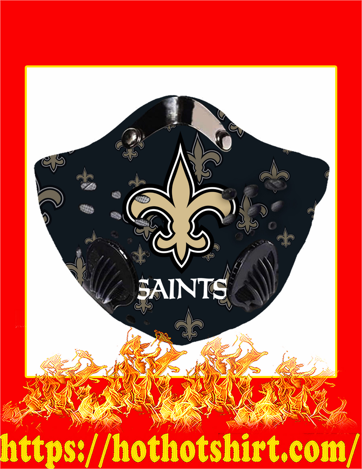 NFL Saints filter face mask - detail