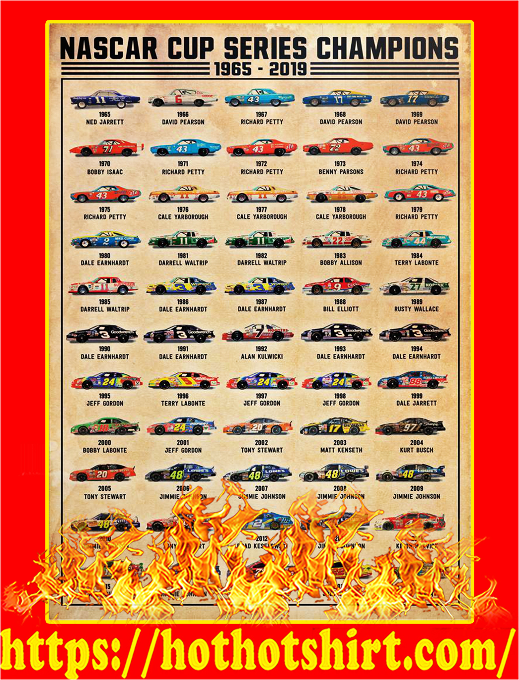 Nascar cup series champions poster - A2